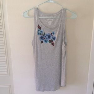 AEO NWOT soft&sexy tank small gray embroidered 🌸